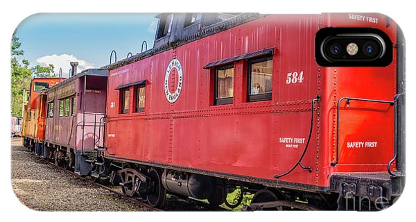 Red Caboose iPhone Case - Train Caboose Village Tilton New Hampshire 2 by Edward Fielding