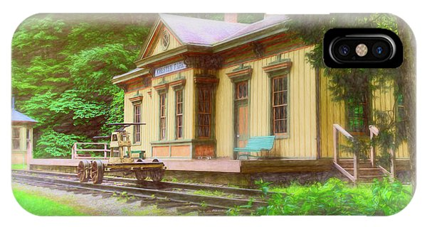 Railroad Station iPhone Case - Train Depot With Hand Car by Tom Mc Nemar