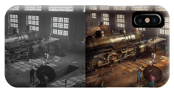IPhone Case featuring the photograph Train - Repair - Third Door On The Right 1942 - Side By Side by Mike Savad