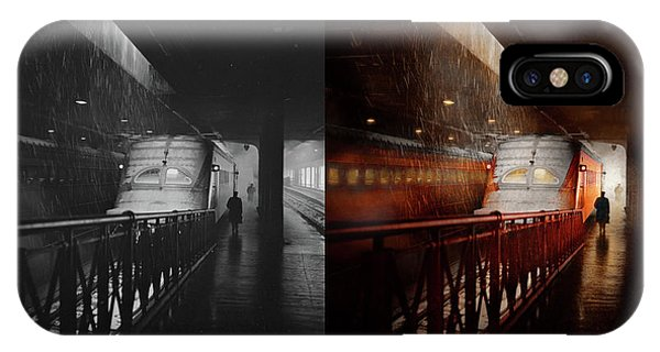 IPhone Case featuring the photograph Train - Retro - Last Train Of The Day 1943 - Side By Side by Mike Savad