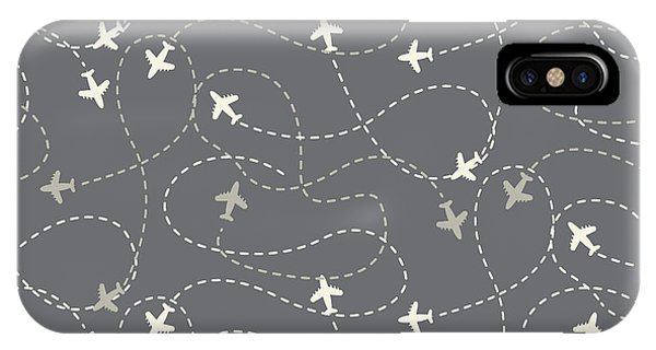 Seamless iPhone Case - Travel Around The World Airplane Routes by Nnnnae