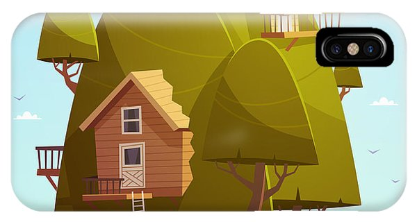 Small iPhone Case - Tree House. Kids Background. Vector by Doremi
