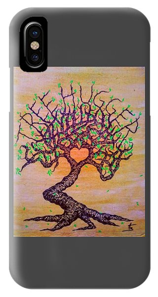 IPhone Case featuring the drawing Tree Hugger Love Tree W/ Foliage by Aaron Bombalicki