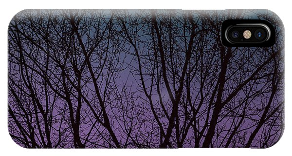 Tree Silhouette Against Blue And Purple IPhone Case