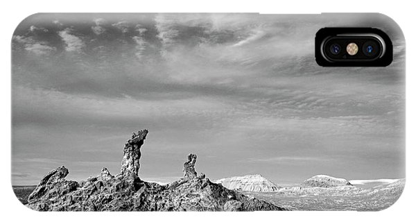 Middle Of Nowhere iPhone Case - Tres Marias In Monochrome Moon Valley Chile by James Brunker