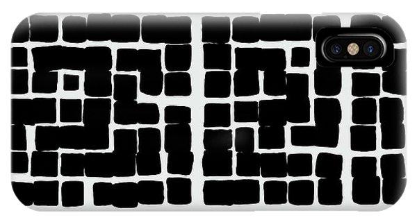 IPhone Case featuring the digital art Triptych B/w 1 by Attila Meszlenyi