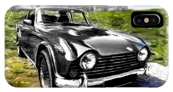 Triumph Tr5 Monochrome With Brushstrokes IPhone Case
