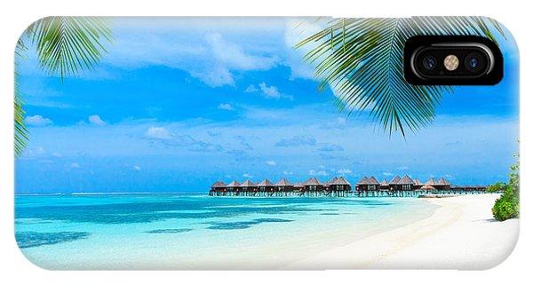 Hotel iPhone Case - Tropical Beach In Maldives With Few by Akugasahagy