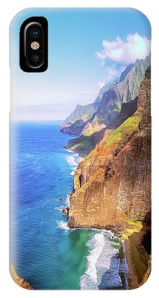IPhone Case featuring the digital art Tropical Coastline Hawaii Aerial Photograph Of The Isolated Napali Coast by OLena Art Brand