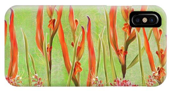 Tropical Floral Print Lime Green Batik IPhone Case