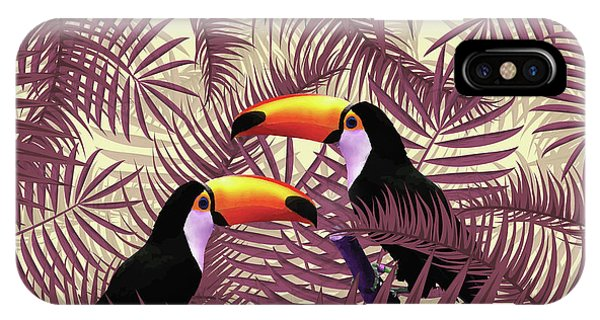 Violet iPhone Case - Tropical Forest - Toucan Birds - Tropical Palm Leaf Pattern - Leaf Pattern - Tropical Print 3 by Studio Grafiikka