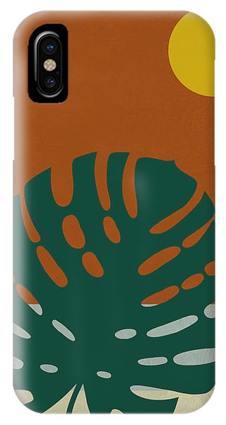 Leaf iPhone Case - Tropical Leaf And Blue Moon by Naxart Studio