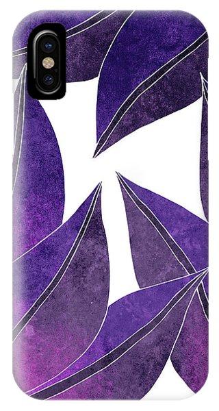 Violet iPhone Case - Tropical Leaf Illustration - Violet, Purple - Botanical Art - Floral Design - Modern, Minimal Decor by Studio Grafiikka