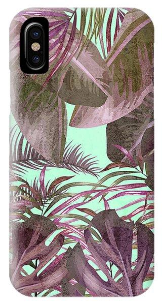 Violet iPhone Case - Tropical Leaf Pattern 03- Banana, Palm Leaf, Monstera Leaf - Purple, Freshness, Tropical, Botanical by Studio Grafiikka