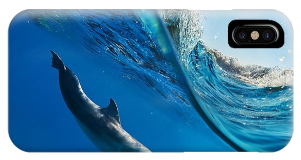Dolphin iPhone Case - Tropical Seascape With Water Waved by Willyam Bradberry