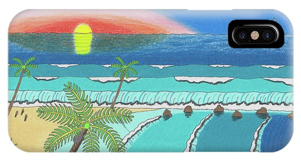 IPhone Case featuring the drawing Tropical Sunrise by John Wiegand