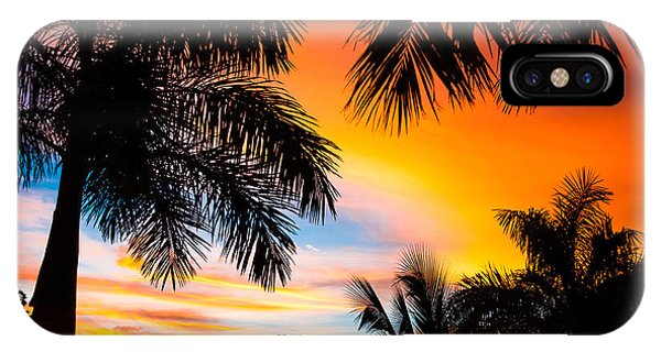 Beautiful Sunrise iPhone Case - Tropical Trees By The Beach In Central by Mervas