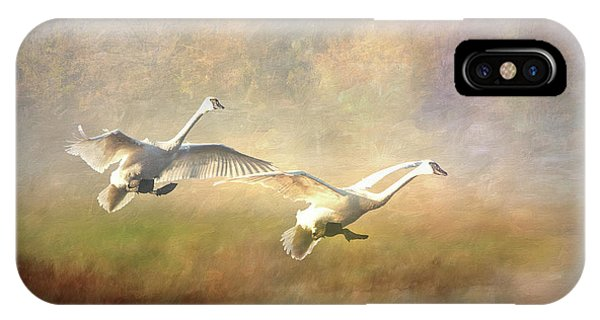 Trumpeter Swan Landing - Painterly IPhone Case