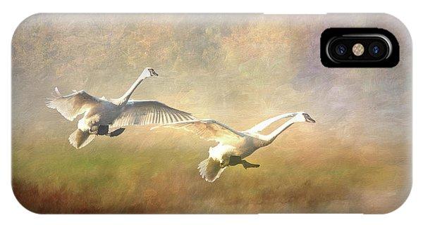 Trumpeter Swan Landing - Painterly IPhone Case