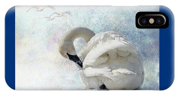 Trumpeter Textures #2 - Swan Preening IPhone Case