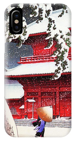 Umbrella Pine iPhone Case - Twenty Views Of Tokyo, Zojo Temple, Shiba - Digital Remastered Edition by Kawase Hasui