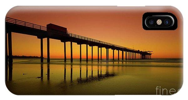 Scripps Pier iPhone Case - Twilight On The Beach Scripps Pier La Jolla San Diego Ca by Edward Fielding