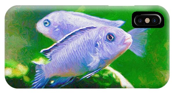 IPhone Case featuring the digital art Twin Blue Zebra Cichlids Pen by Don Northup