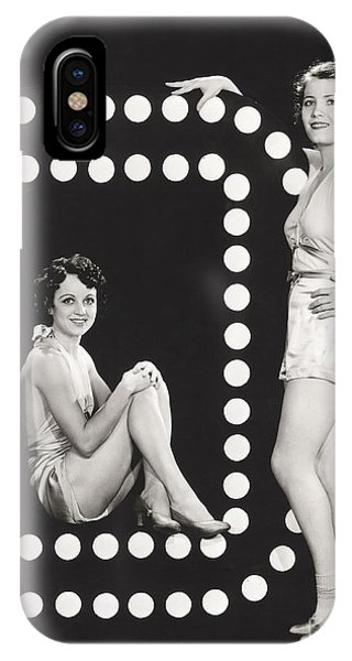 Adult iPhone Case - Two Models Posing By Large Letter O by Everett Collection