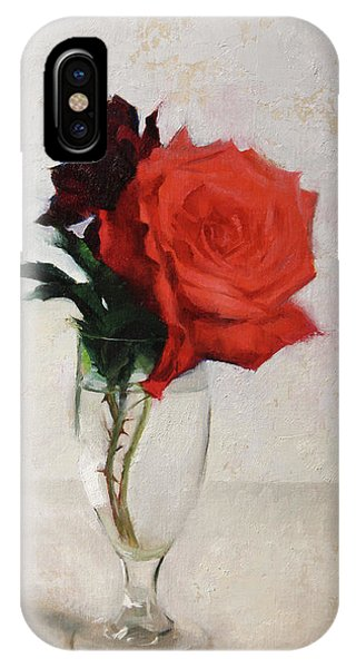 Simple iPhone Case - Two Red Roses by Anna Rose Bain