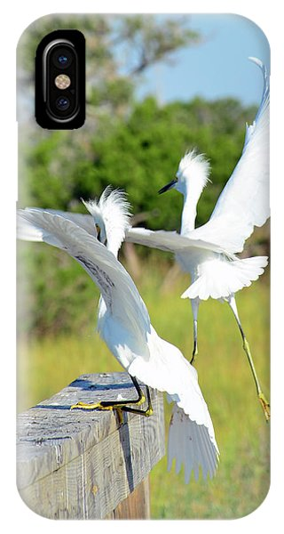 Two Snowy Egrets Lifting Off On Jekyll Island IPhone Case