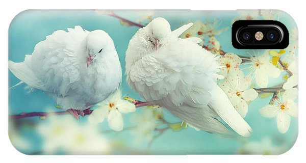 Christianity iPhone Case - Two White Pigeon On Flowering by Igoraleks