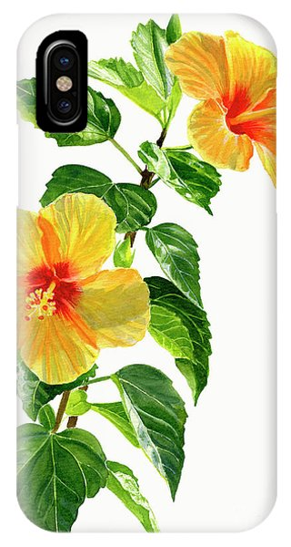 Hibiscus Flower iPhone Case - Two Yellow Hibiscus Flowers by Sharon Freeman