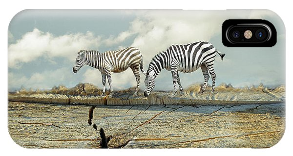 Surrealistic iPhone Case - Two Zebras In A Surreal Landscape by Valentina Photos