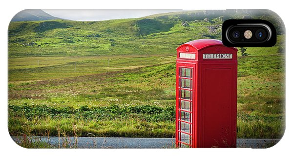 Typical Red English Telephone Box In A Rural Area Near A Road. IPhone Case