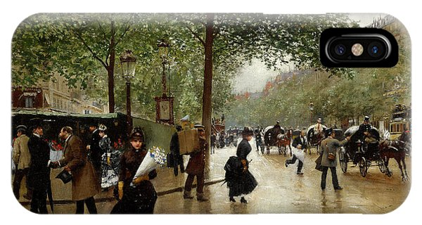 Concorde iPhone Case - Un Grand Boulevard  by Jean Beraud