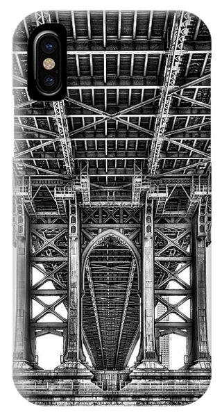 iPhone Case - Under The Manhattan Bridge Bw by Susan Candelario