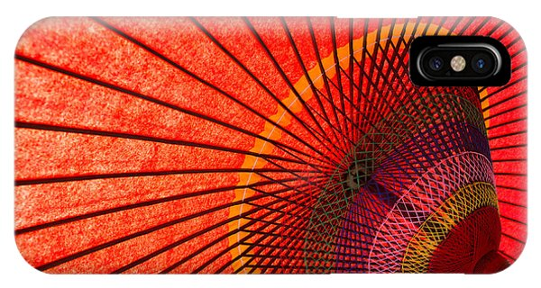 Parasol iPhone Case - Underside Of Red Japanese Parasol by Sam Chadwick