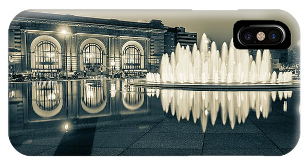 Union Station Bloch Fountain In Sepia - Kansas City Architecture IPhone Case