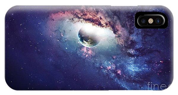 Nasa iPhone Case - Universe Scene With Planets, Stars And by Vadim Sadovski