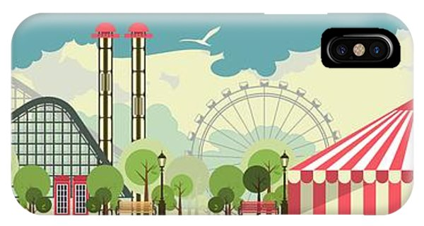 Carousel iPhone Case - Urban Amusement Park Circus Tent by Marrishuanna