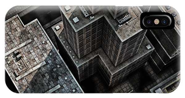 Office Buildings iPhone Case - Urban Rooftops, Aerial View Of A 3d by Petrafler
