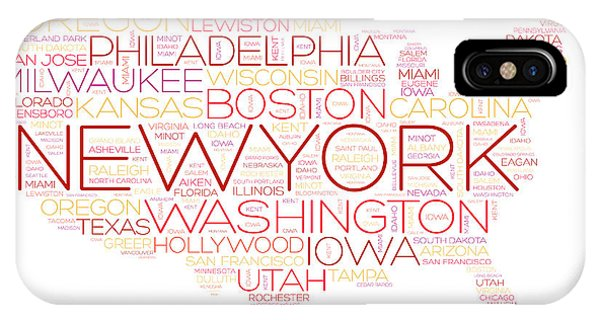 Oklahoma iPhone Case - Usa Map Word Cloud With Most Important by Dizain