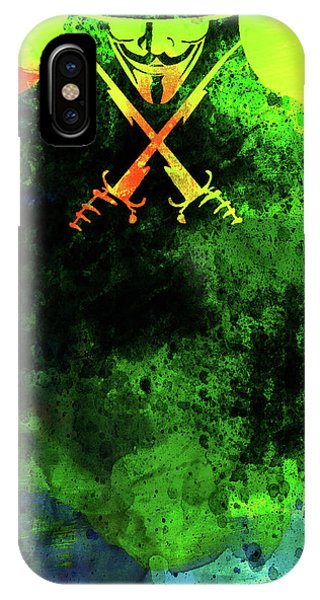 For iPhone Case - V For Vendetta Watercolor II by Naxart Studio