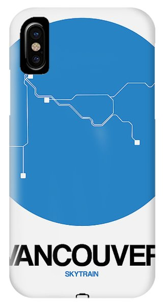 Vancouver City iPhone Case - Vancouver Blue Subway Map by Naxart Studio