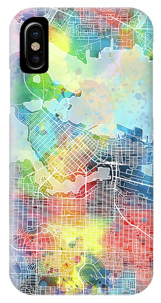 Vancouver City iPhone Case - Vancouver Map Watercolor by Bekim M