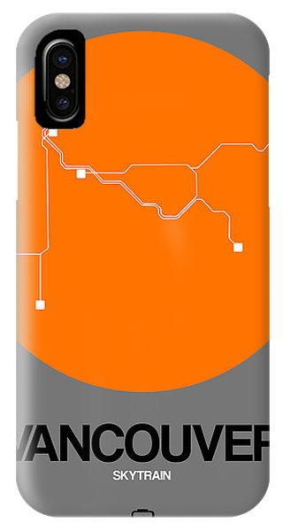 Vancouver City iPhone Case - Vancouver Orange Subway Map by Naxart Studio