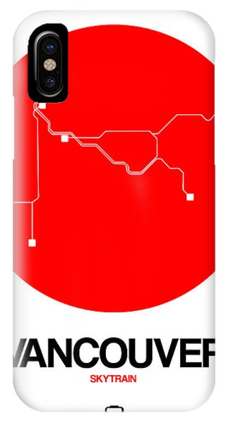 Vancouver City iPhone Case - Vancouver Red Subway Map by Naxart Studio