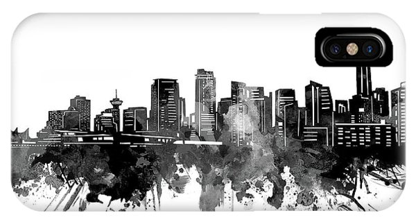 Vancouver City iPhone Case - Vancouver Skyline Bw by Bekim M