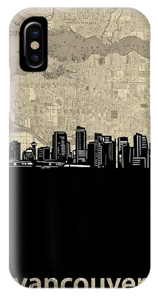 Vancouver City iPhone Case - Vancouver Skyline Map by Bekim M