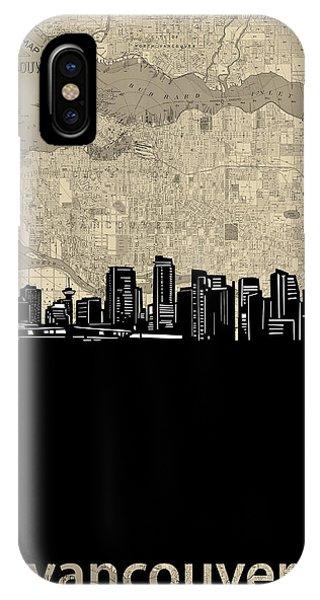 Vancouver Skyline iPhone Case - Vancouver Skyline Map by Bekim M